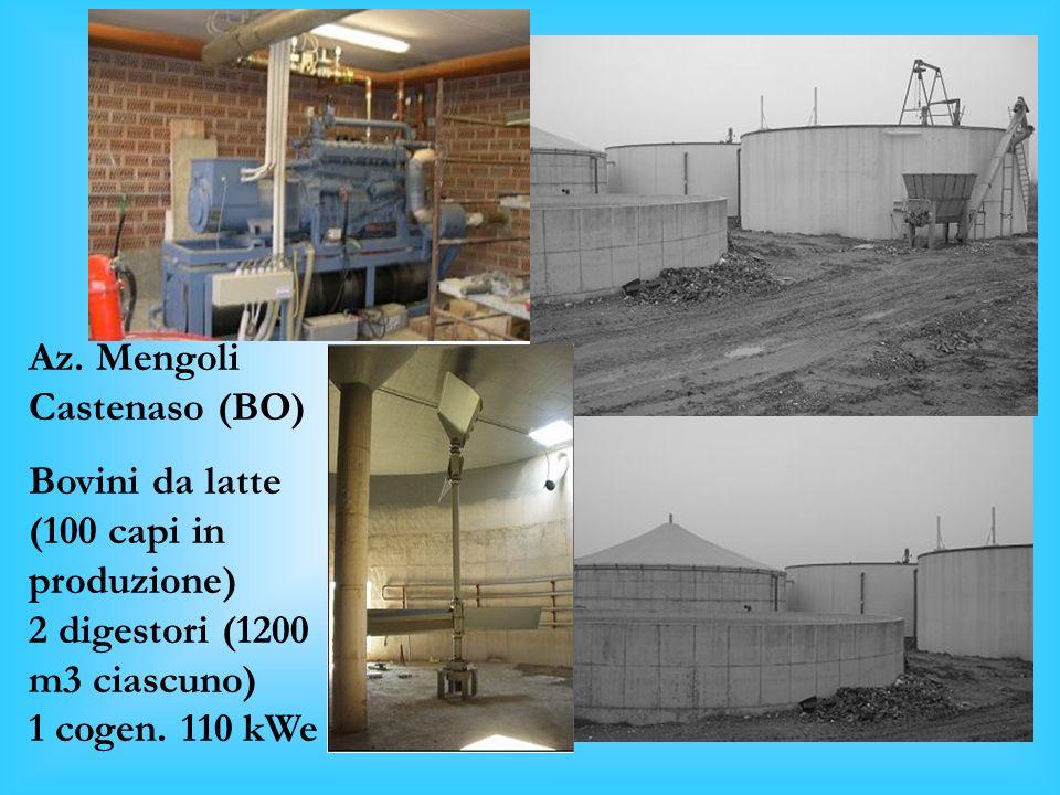 Az. Mengoli Castenaso (BO) Bovini da latte (100 capi in produzione) 2 digestori (1200 m3 ciascuno)