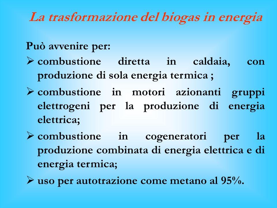La trasformazione del biogas in energia