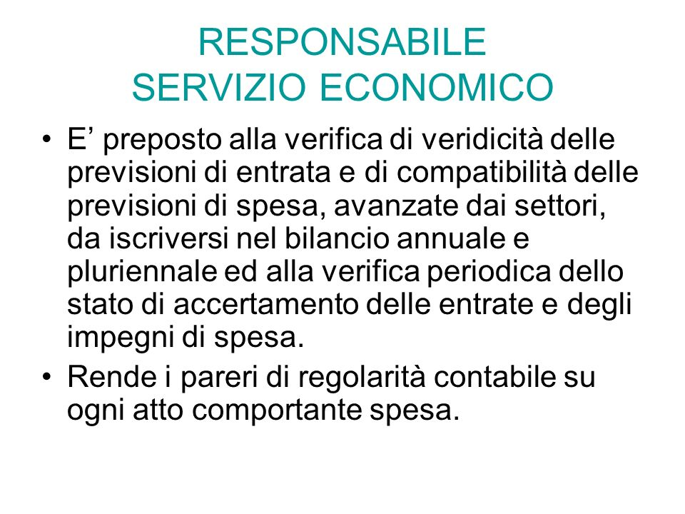 RESPONSABILE SERVIZIO ECONOMICO