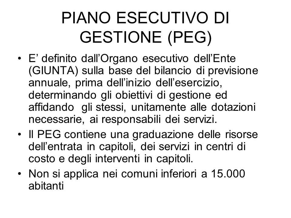 PIANO ESECUTIVO DI GESTIONE (PEG)