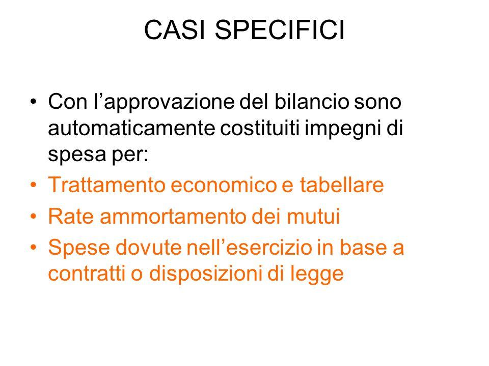 CASI SPECIFICI Con l'approvazione del bilancio sono automaticamente costituiti impegni di spesa per: