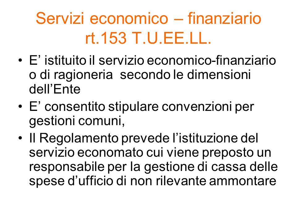 Servizi economico – finanziario rt.153 T.U.EE.LL.