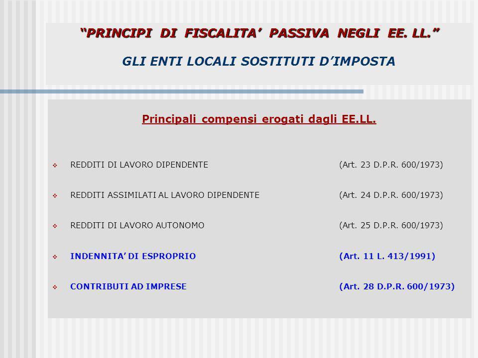 Principali compensi erogati dagli EE.LL.