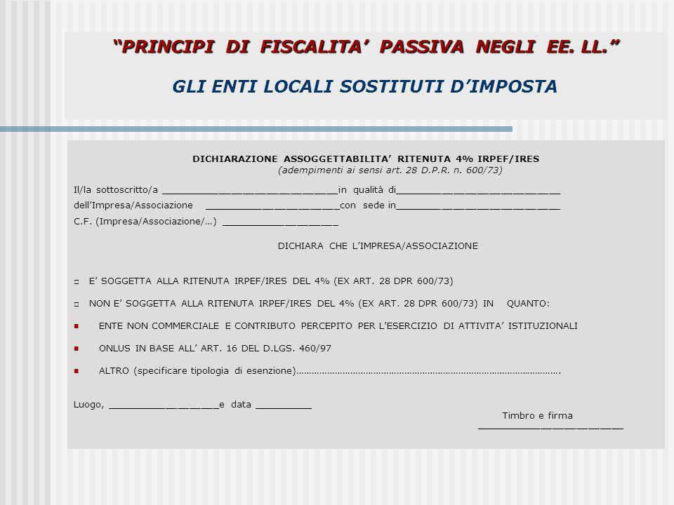 DICHIARAZIONE ASSOGGETTABILITA' RITENUTA 4% IRPEF/IRES