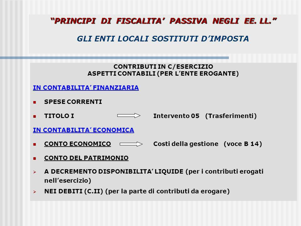 CONTRIBUTI IN C/ESERCIZIO ASPETTI CONTABILI (PER L'ENTE EROGANTE)
