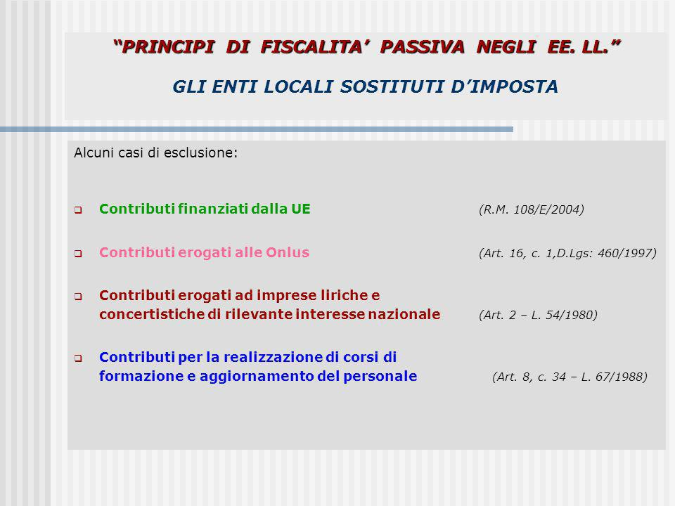 PRINCIPI DI FISCALITA' PASSIVA NEGLI EE. LL