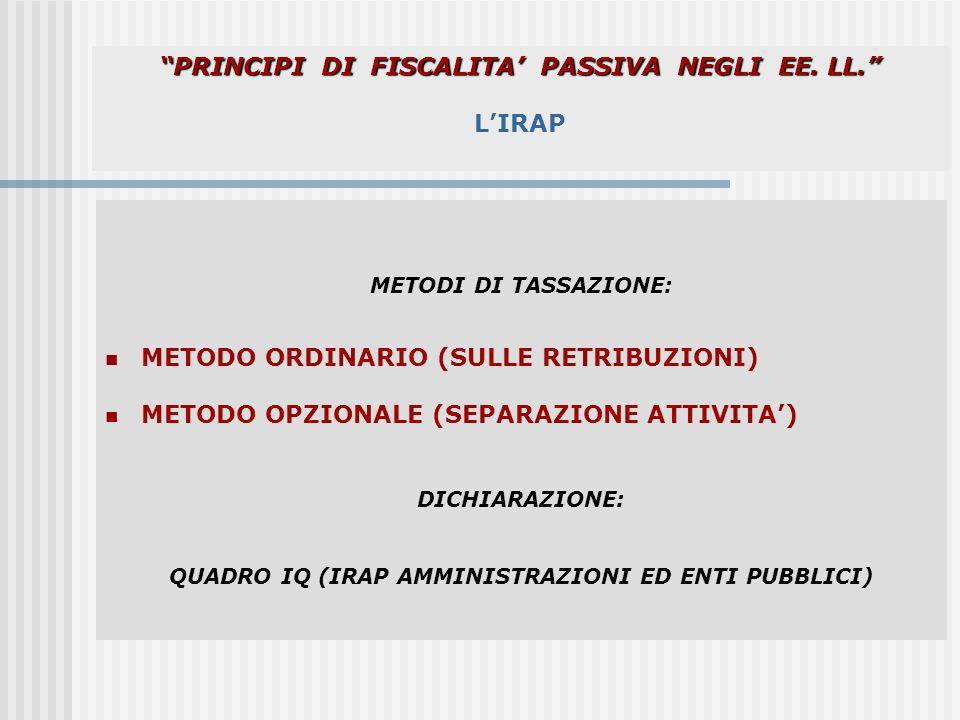 PRINCIPI DI FISCALITA' PASSIVA NEGLI EE. LL. L'IRAP