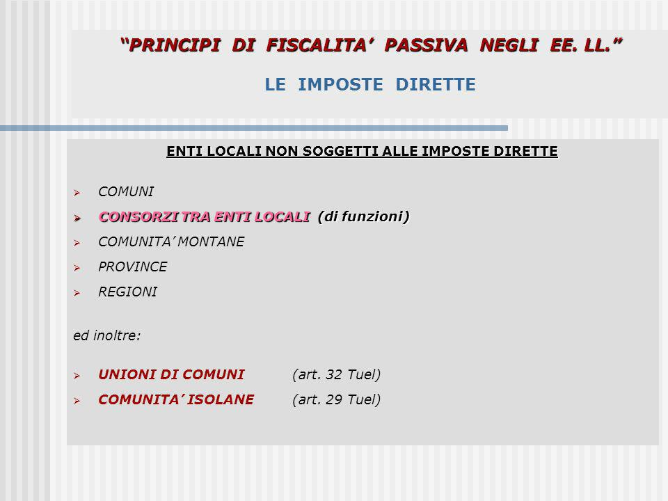 PRINCIPI DI FISCALITA' PASSIVA NEGLI EE. LL. LE IMPOSTE DIRETTE