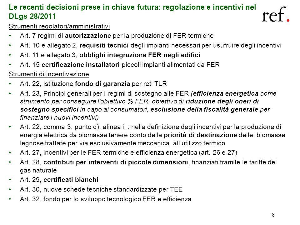 Le recenti decisioni prese in chiave futura: regolazione e incentivi nel DLgs 28/2011
