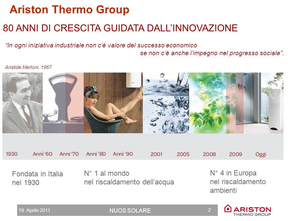 Ariston Thermo Group 80 ANNI DI CRESCITA GUIDATA DALL'INNOVAZIONE