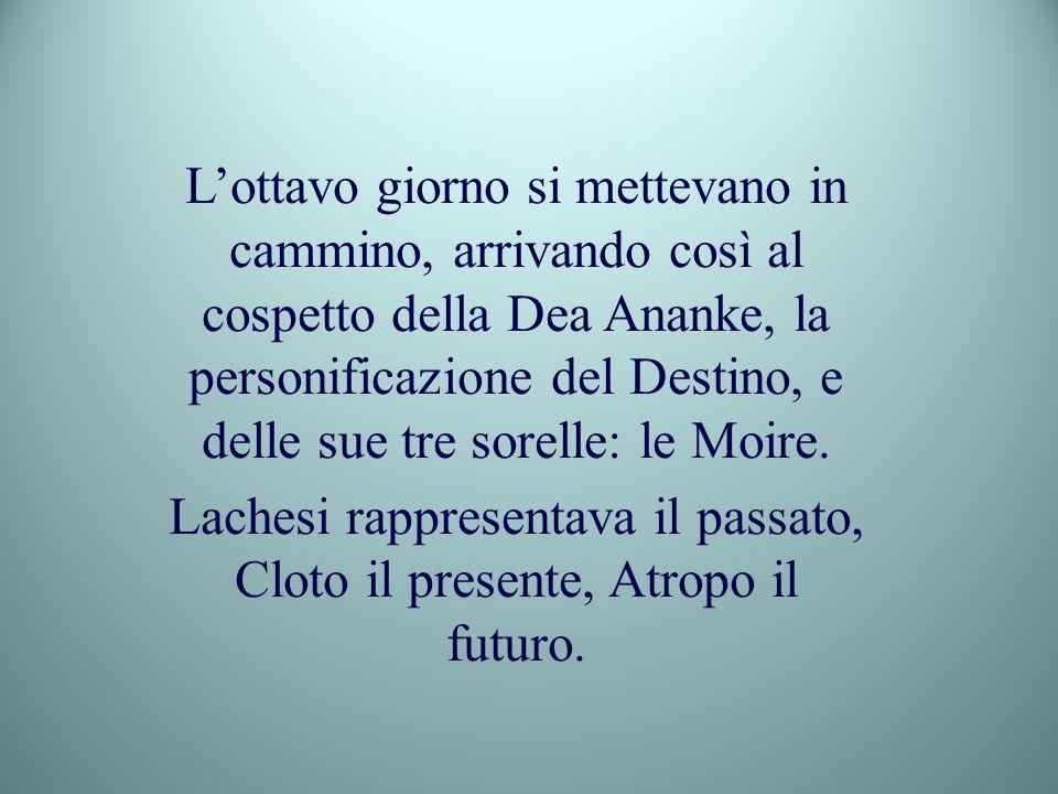 Lachesi rappresentava il passato, Cloto il presente, Atropo il futuro.