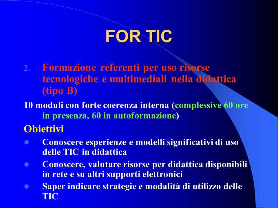 FOR TIC Formazione referenti per uso risorse tecnologiche e multimediali nella didattica (tipo B)