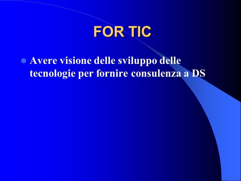 FOR TIC Avere visione delle sviluppo delle tecnologie per fornire consulenza a DS
