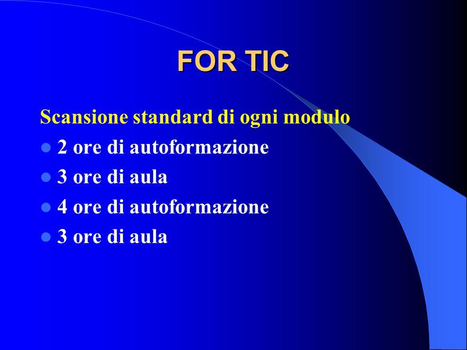 FOR TIC Scansione standard di ogni modulo 2 ore di autoformazione