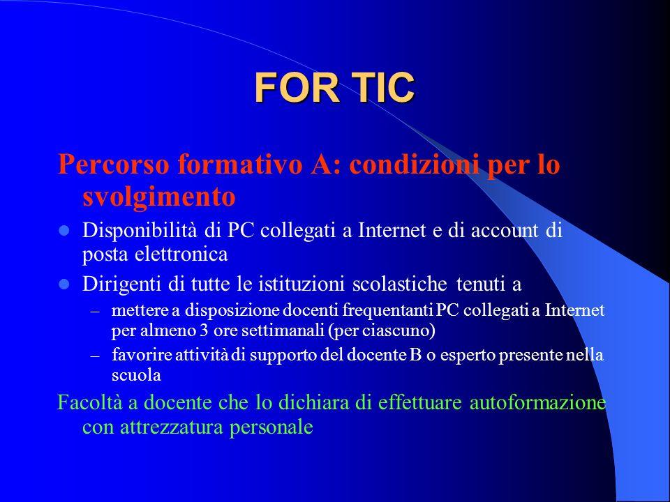 FOR TIC Percorso formativo A: condizioni per lo svolgimento