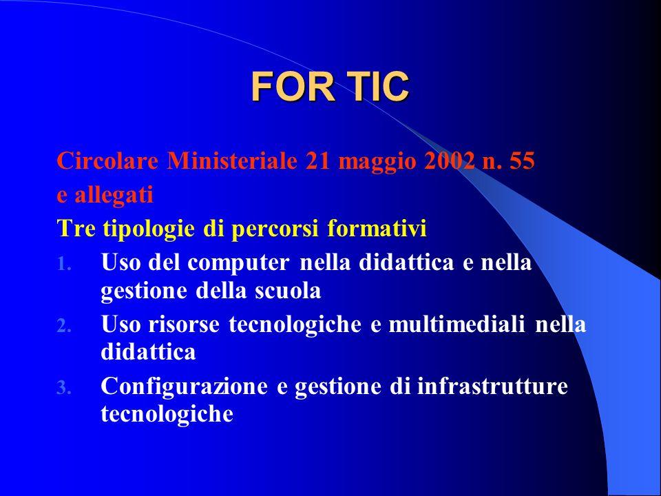 FOR TIC Circolare Ministeriale 21 maggio 2002 n. 55 e allegati
