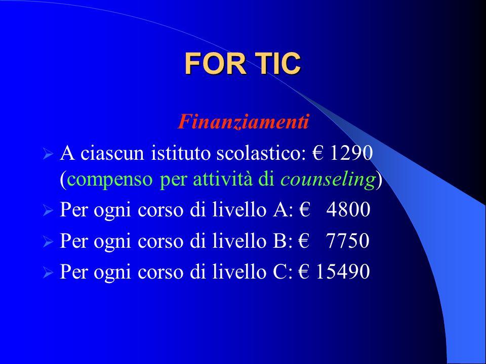 FOR TIC Finanziamenti. A ciascun istituto scolastico: € 1290 (compenso per attività di counseling)