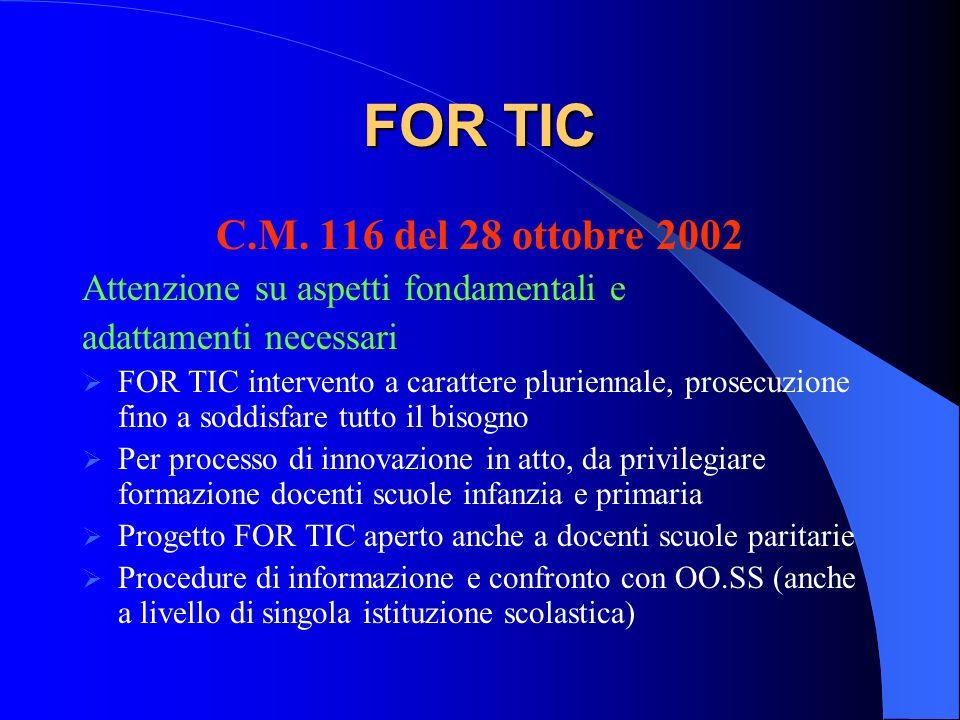 FOR TIC C.M. 116 del 28 ottobre 2002. Attenzione su aspetti fondamentali e. adattamenti necessari.