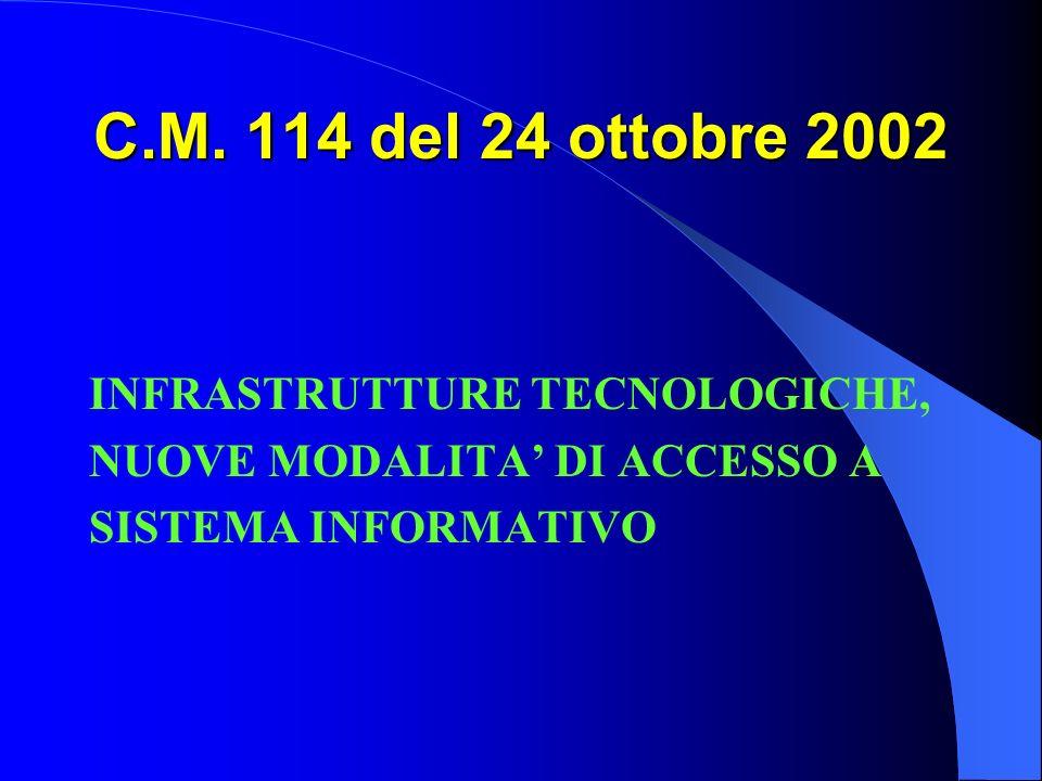 C.M. 114 del 24 ottobre 2002 INFRASTRUTTURE TECNOLOGICHE,