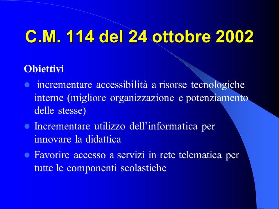 C.M. 114 del 24 ottobre 2002 Obiettivi