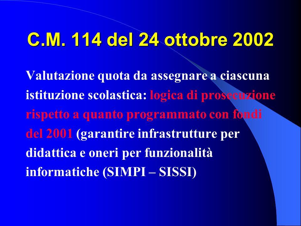 C.M. 114 del 24 ottobre 2002 Valutazione quota da assegnare a ciascuna