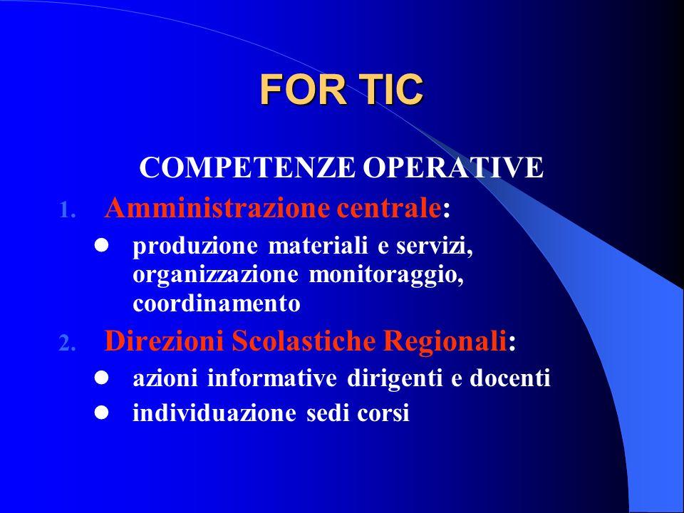 FOR TIC COMPETENZE OPERATIVE Amministrazione centrale: