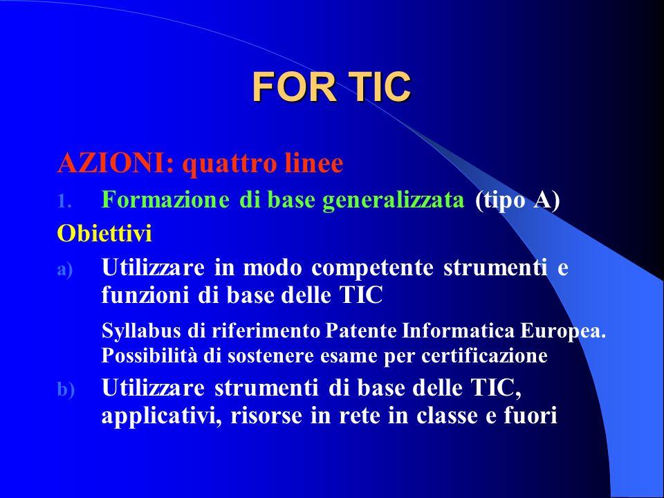 FOR TIC AZIONI: quattro linee