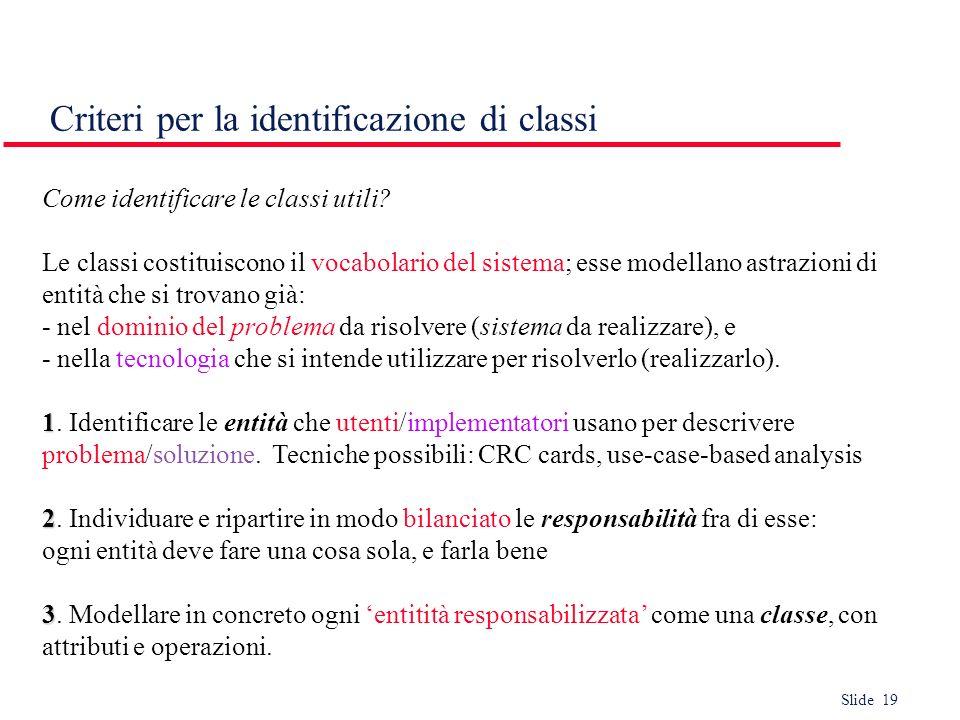 Criteri per la identificazione di classi
