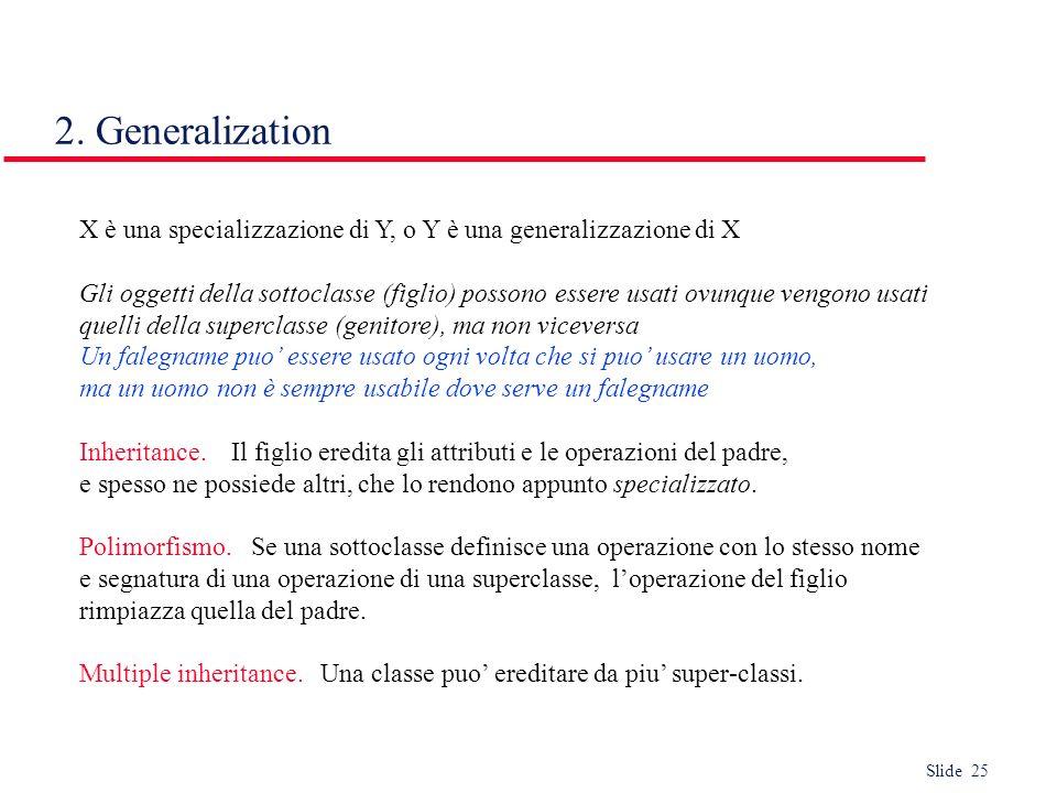 2. GeneralizationX è una specializzazione di Y, o Y è una generalizzazione di X.