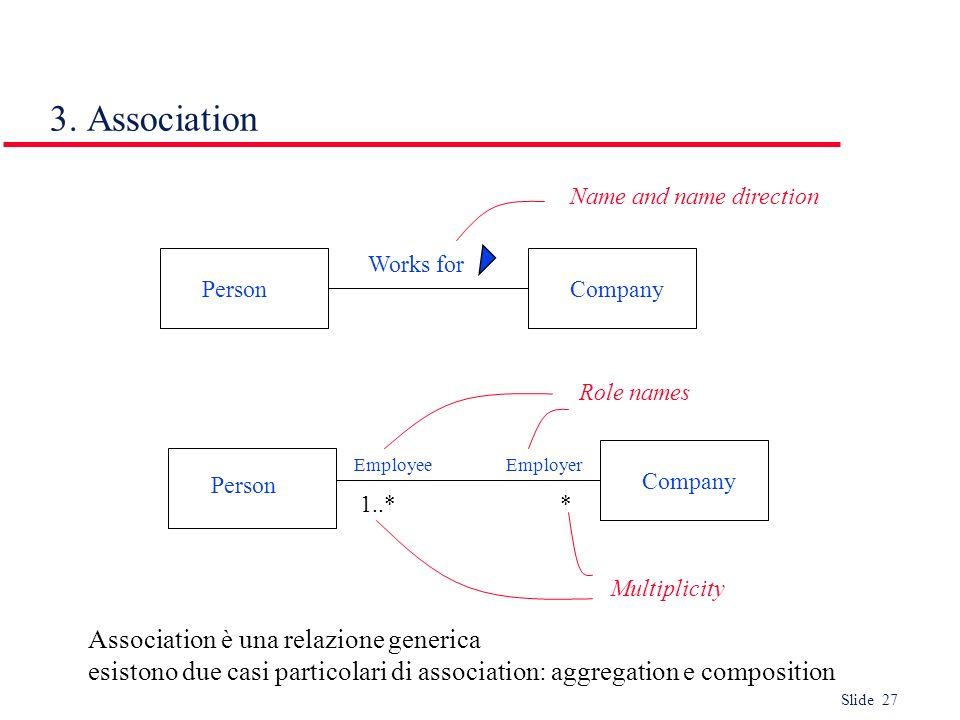 3. Association Association è una relazione generica
