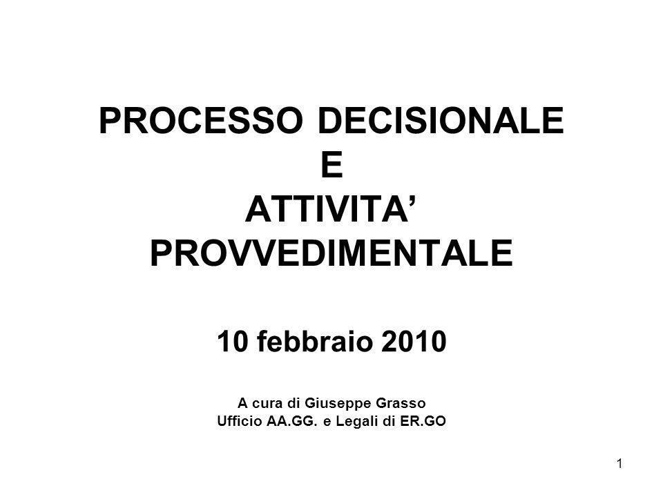 PROCESSO DECISIONALE E ATTIVITA' PROVVEDIMENTALE