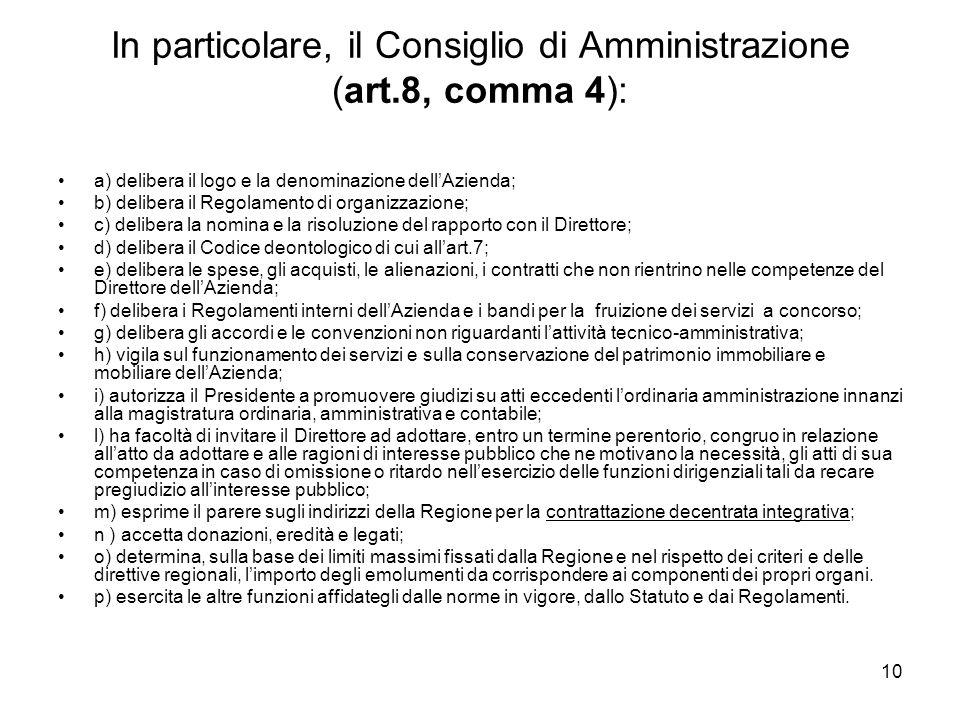 In particolare, il Consiglio di Amministrazione (art.8, comma 4):