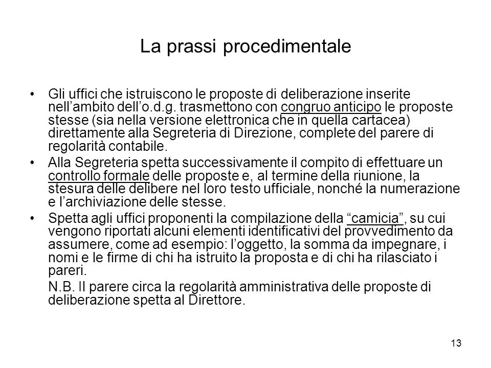 La prassi procedimentale