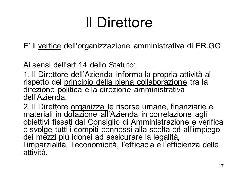 Il Direttore E' il vertice dell'organizzazione amministrativa di ER.GO