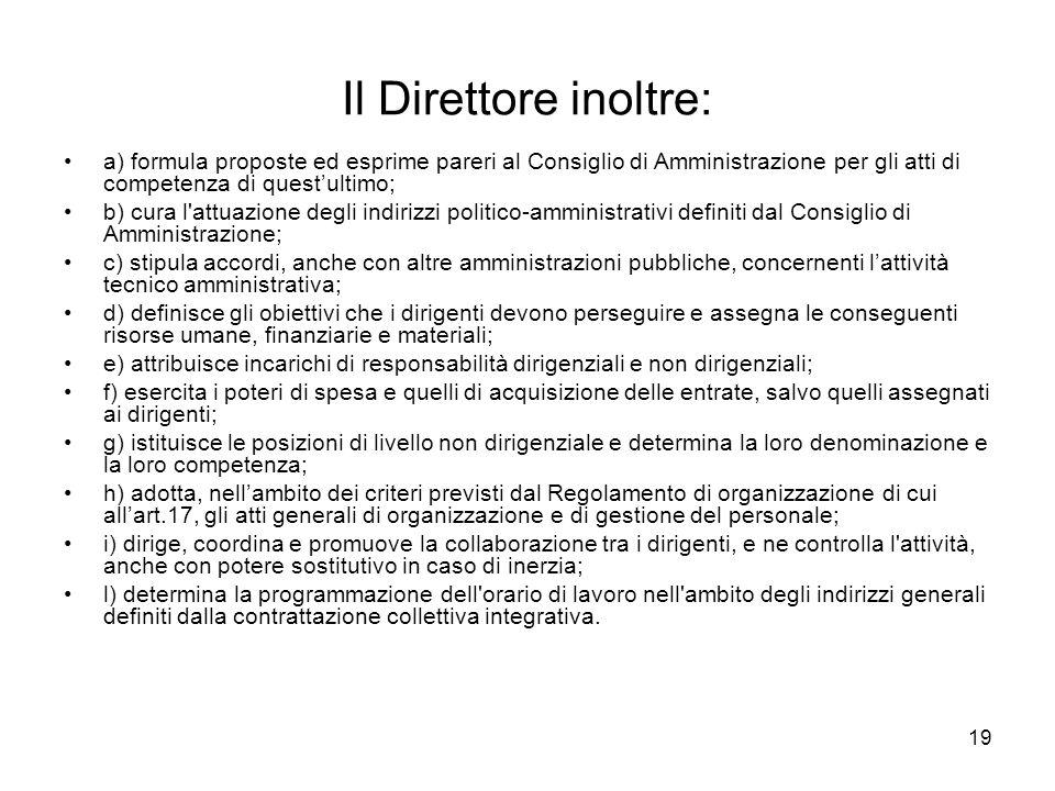 Il Direttore inoltre: a) formula proposte ed esprime pareri al Consiglio di Amministrazione per gli atti di competenza di quest'ultimo;
