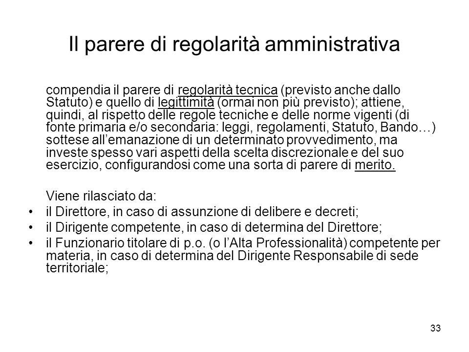 Il parere di regolarità amministrativa