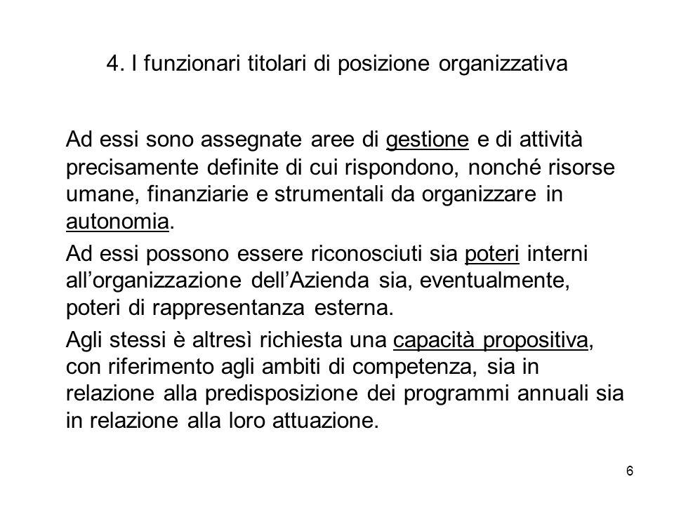 4. I funzionari titolari di posizione organizzativa