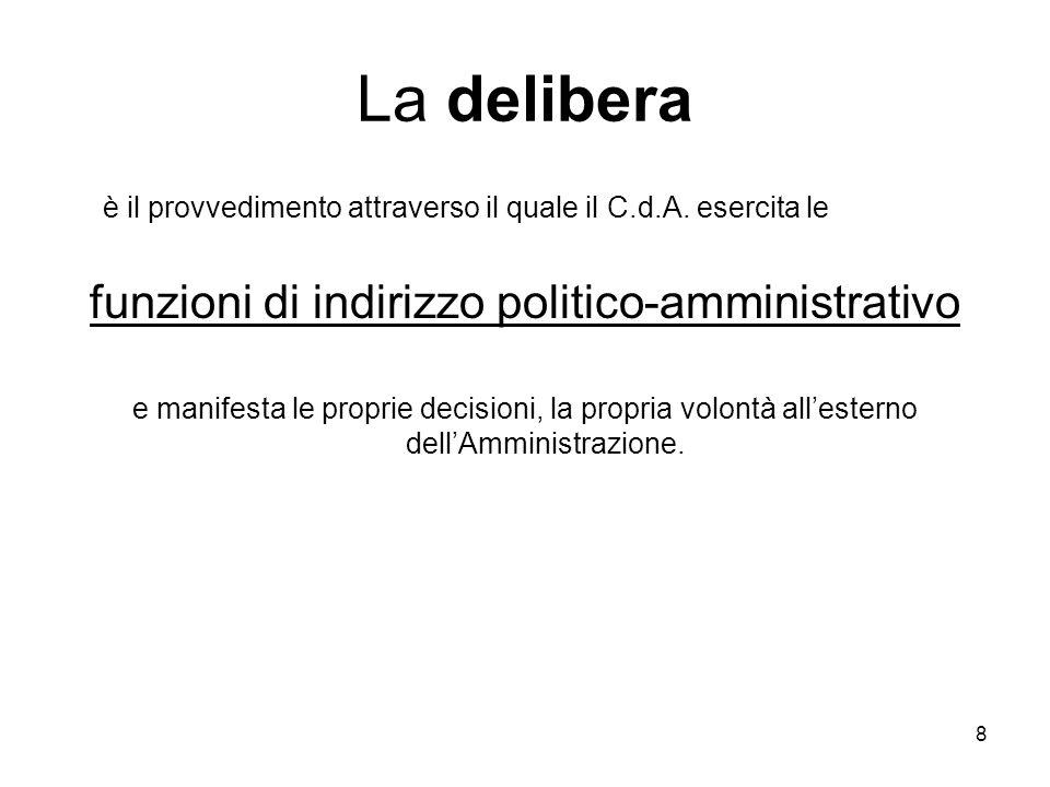 funzioni di indirizzo politico-amministrativo