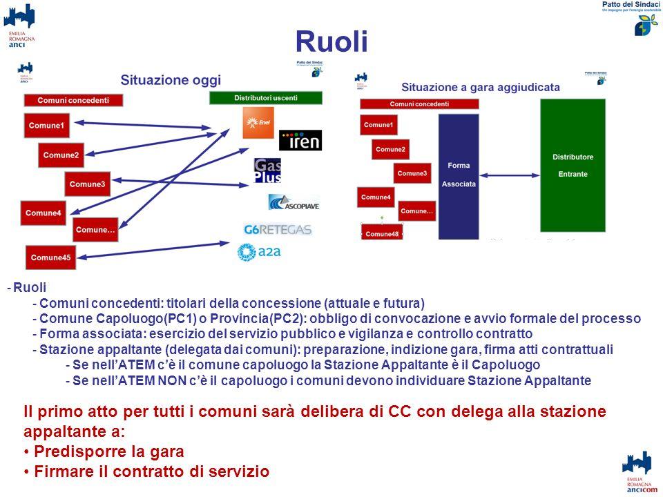 Ruoli Ruoli. Comuni concedenti: titolari della concessione (attuale e futura)