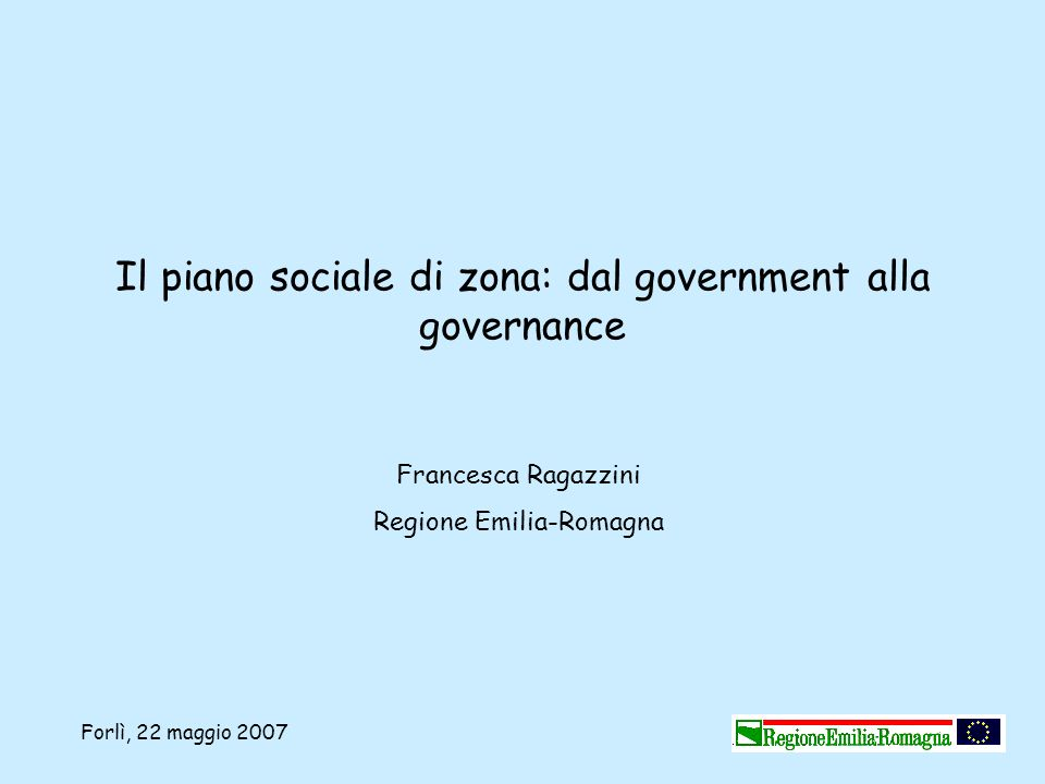 Il piano sociale di zona: dal government alla governance