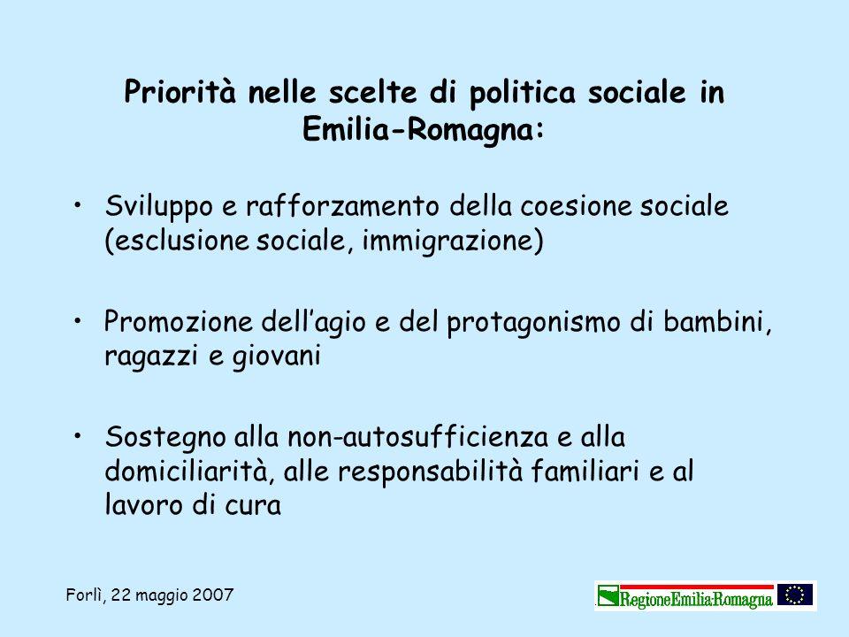 Priorità nelle scelte di politica sociale in Emilia-Romagna: