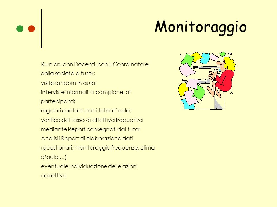 Monitoraggio Riunioni con Docenti, con il Coordinatore della società e tutor; visite random in aula;