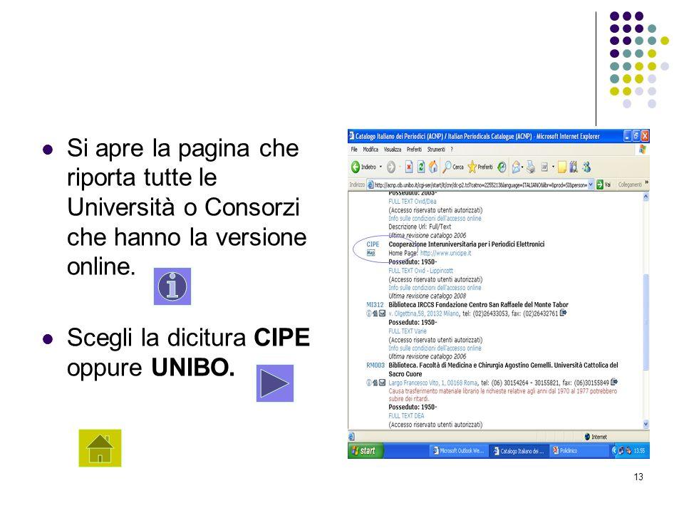 Si apre la pagina che riporta tutte le Università o Consorzi che hanno la versione online.