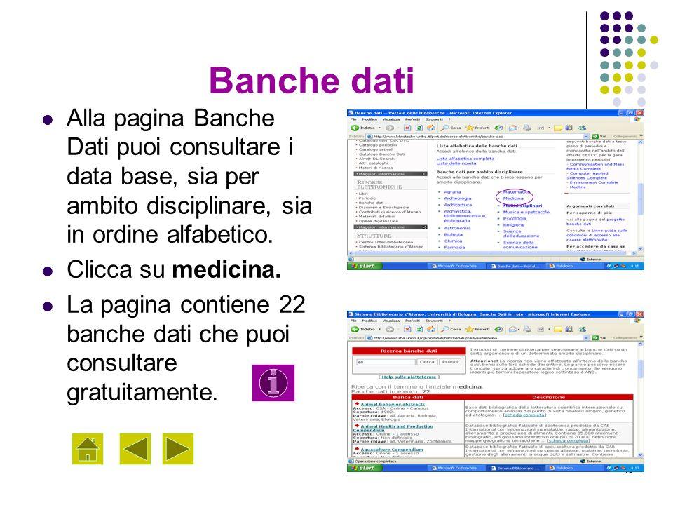 Banche dati Alla pagina Banche Dati puoi consultare i data base, sia per ambito disciplinare, sia in ordine alfabetico.