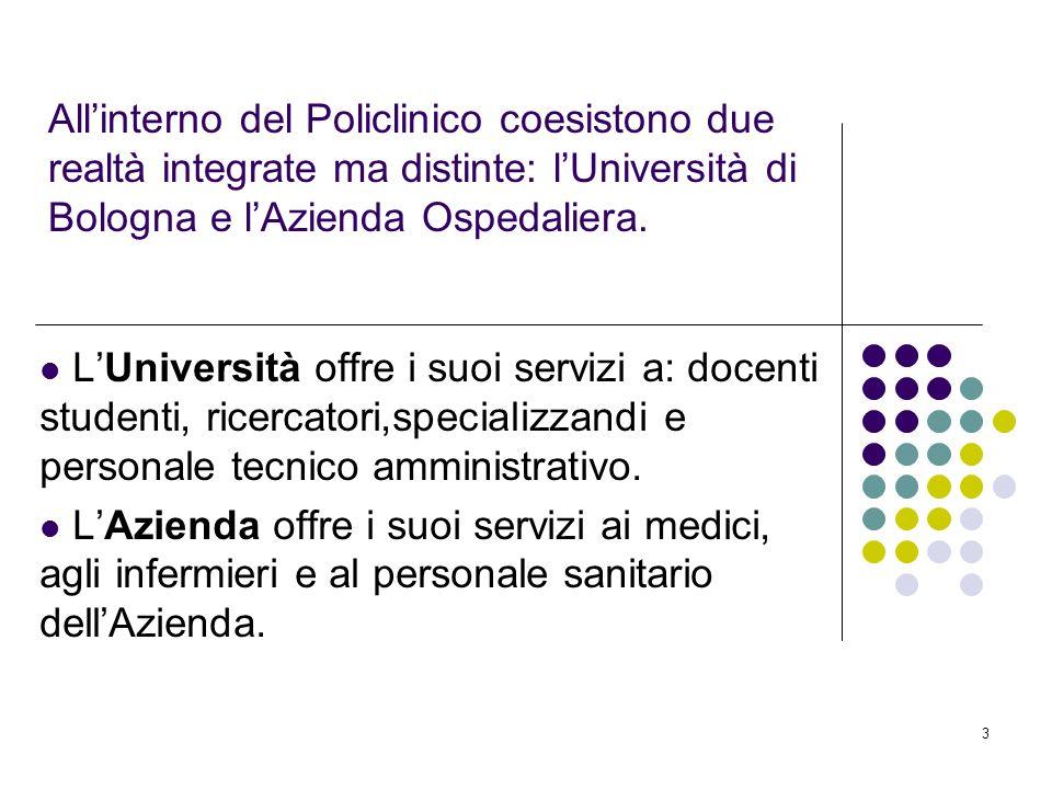 All'interno del Policlinico coesistono due realtà integrate ma distinte: l'Università di Bologna e l'Azienda Ospedaliera.