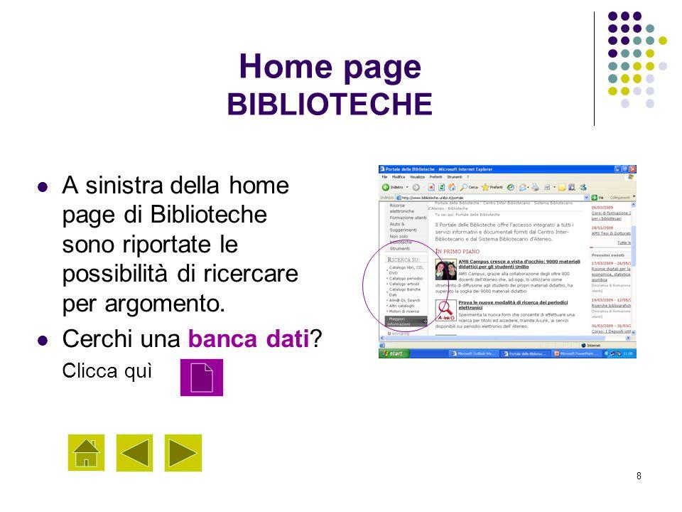 Home page BIBLIOTECHE A sinistra della home page di Biblioteche sono riportate le possibilità di ricercare per argomento.