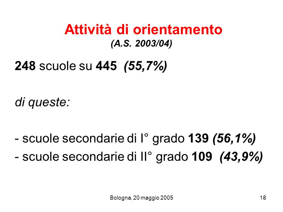 Attività di orientamento (A.S. 2003/04)