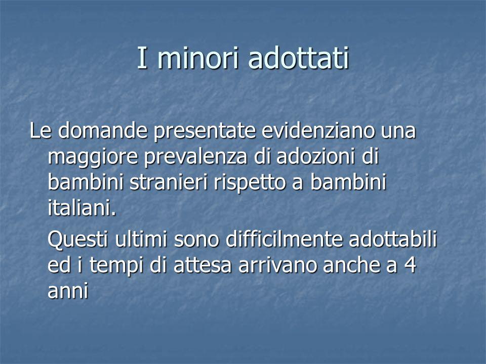 I minori adottati Le domande presentate evidenziano una maggiore prevalenza di adozioni di bambini stranieri rispetto a bambini italiani.