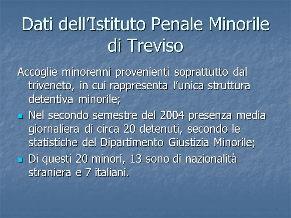 Dati dell'Istituto Penale Minorile di Treviso