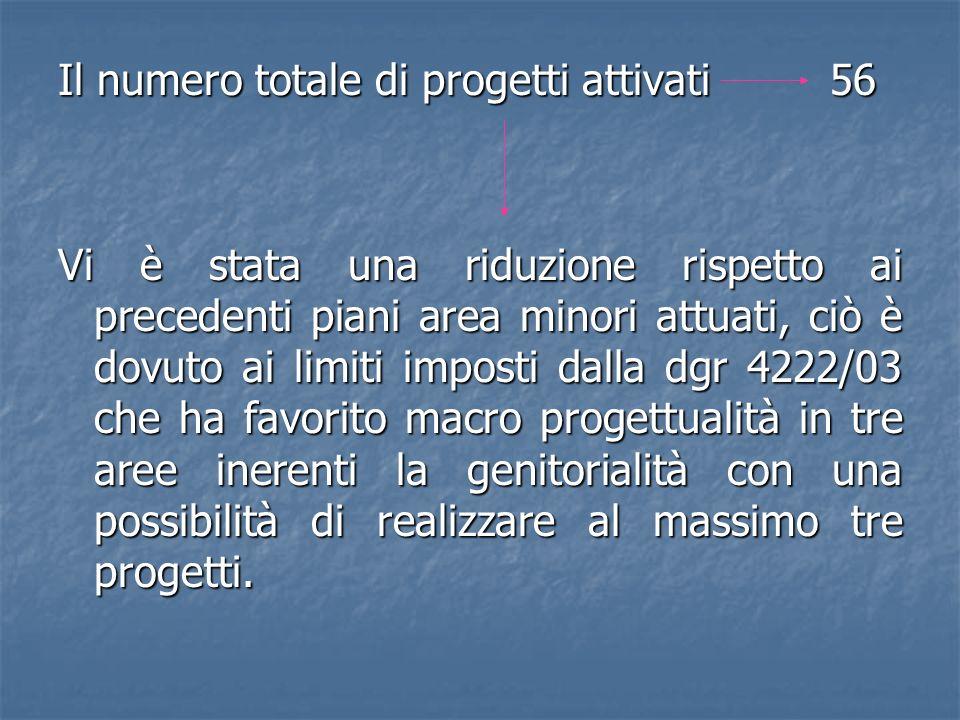 Il numero totale di progetti attivati 56